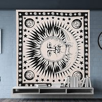 Indian Cotton Sun & Moon Hand Printed The Moon Wall Hangings Black and White Bedspread Bed Sheet Tapestry