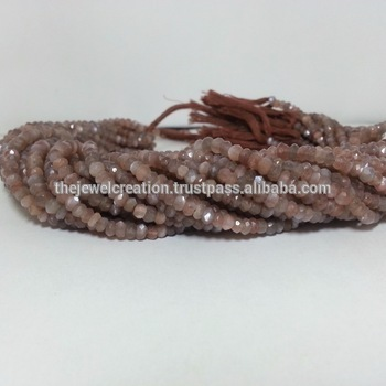 Natural Chocolate Coffee Moonstone Faceted Rondelle Beads