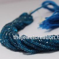 Natural Neon Apatite Faceted Rondelle Beads 3-4mm
