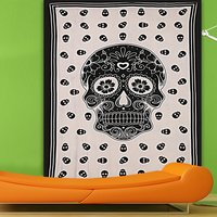 Halloween Skull Printed Wall Hangings Single Beach Throw Indian Cotton Bedspread Bed Sheet Hand Printed Tapestry