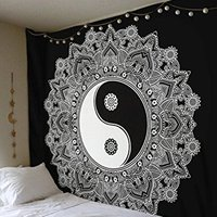 Indian Cotton Yin Yang Sign Printed Wall Decor Home Textile Bedspread Bed Sheet Wall Hangings Tapestry
