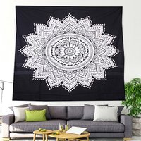 Indian 100% Cotton Mandala Ombre Black & White Wall Home Decor Bedspread Bed Sheet Tapestry