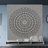 Elephant Black and White Fabric Wall Decor Indian Cotton Printed Bedspread Bed Sheet Tapestry