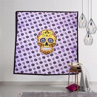 Cotton Indian 100% Wall Tapestry Halloween Skull Design Home Decor Psychedelic Horror Bedspread Bed sheet Tapestry