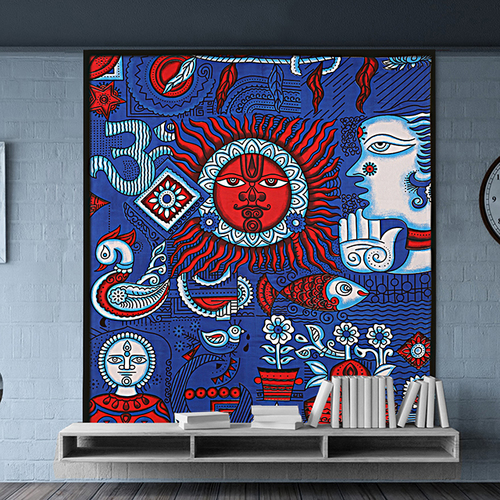 Cotton Wall Decor Indian Mandala Zodiac Horoscope Psychedelic Signs Tapestry