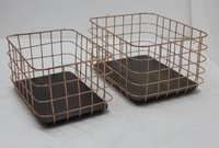 Metal Wire Basket With Wooden Base