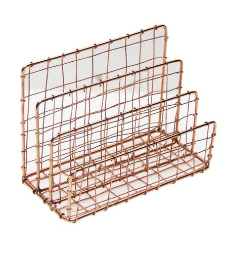 Metal Wire Magize Rack With Copper Finish