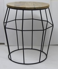 Metal Wire Stool Or Table with Wooden Top