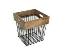 Storage Basket With Wooden Top