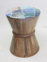 Wooden Stool With Enamel Design