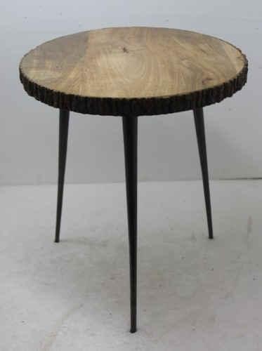 Wooden Table, Coffee Table, Wooden Table With Bark Work