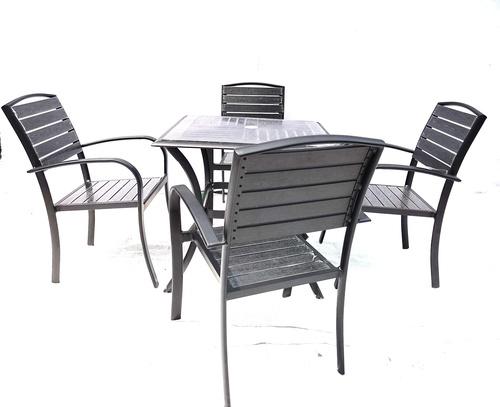 Aluminium WPC Tea Table + 4 Chairs