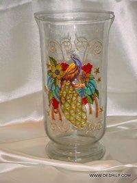 DECORATED GLASS FLOWER VASE