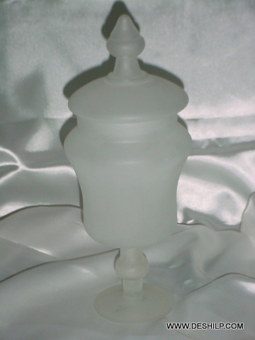 Frosted Glass Antique Jar