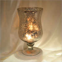 Glass Silver Hurricane Candle