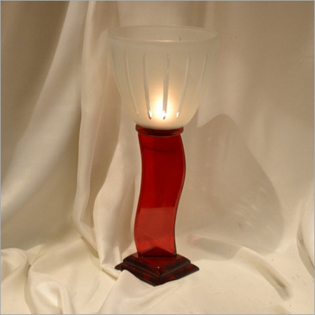 Antique Pillar Glass Candle Holder