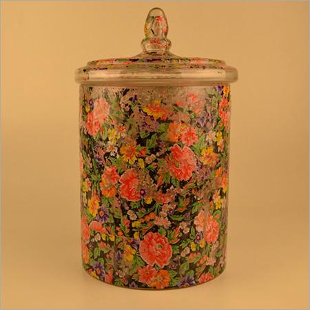FLOWER PRINTED GLASS JAR WITH LID