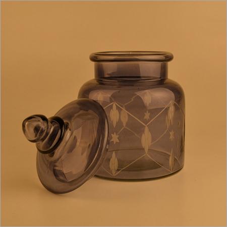 Purple Color Glass Printed Jar