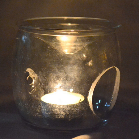 CLEAR GLASS T LIGHT CANDLE HOLDER
