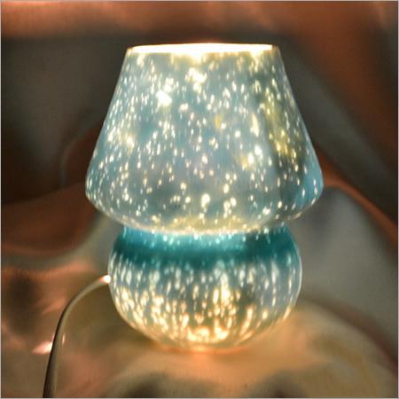 Antique Silver Glass Blue Color Table Lamp