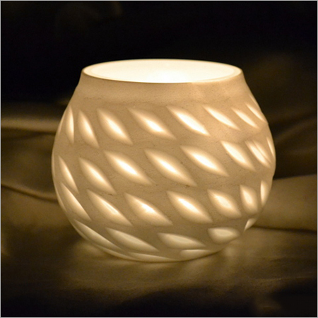 WHITE PAINTED GLASS CANDLE HOLDER