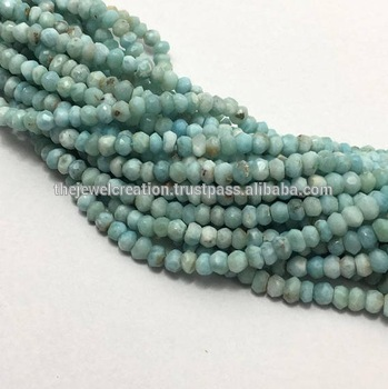 Natural Larimar Beads Wholesale Faceted Rondelle Bead Strand