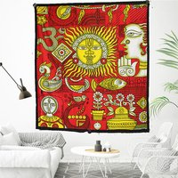 Horoscope Indian 100% Cotton Fabric Mandala Zodiac Hippie Hippy Astro Psychodelic Design Sun Moon Tapestry