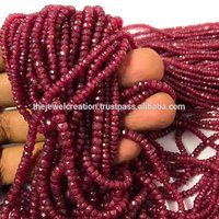 Natural Longido Ruby Faceted Rondelle Gemstone Beads Wholesale Price