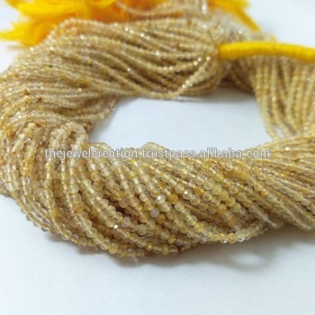 Natural 2mm Golden Rutile Quartz Wholesale Gemstone Micro Faceted Beads
