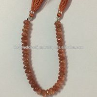 Natural Sunstone Faceted Rondelle Gemstone Bead Strands 6-8mm
