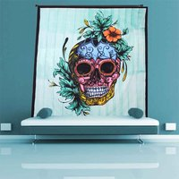 Skull & Rose Skeletons Halloween Indian Cotton Home Decoration Wall Hangings Printed Scary & Pscychedelic Tapestry