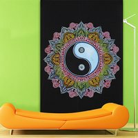 Yin Yang Indian Cotton Chinese Sign Black and Multi color Brushing Style Hippie Wall Hangings Printed Tapestry