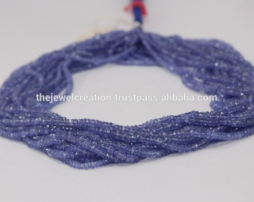 Natural Tanzanite Faceted Rondelle Beads For Jewelry Making