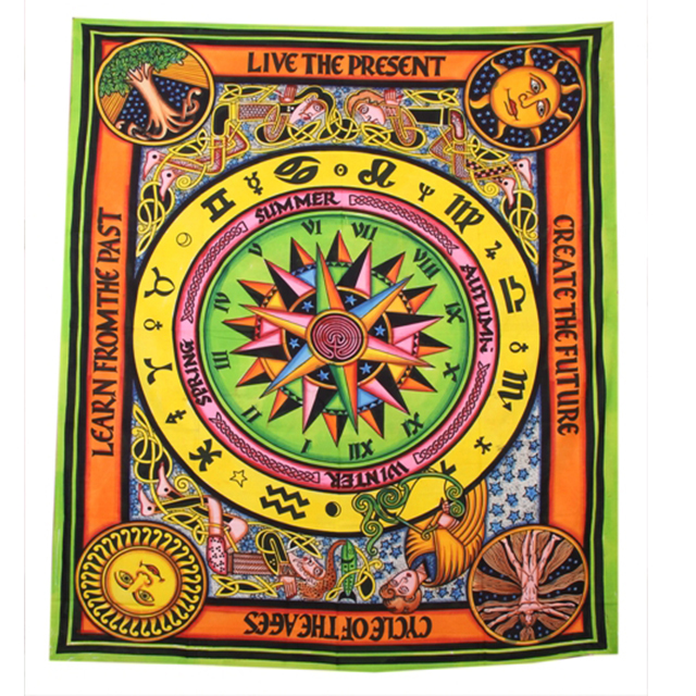 Fabric Zodiac Sign Mandala Celtic Horoscope Design Indian