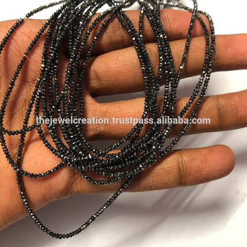 Natural Black Diamond Faceted Beads 10 Carat Size 2mm
