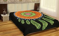 Dream Catcher Printed Indian Cotton Black Color Bedspread Bed Sheet Wall Decor Wall Hangings Tapestry