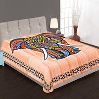 Elephant Printed Single Wall Hangings Indian 100% Cotton Mandala Home Decor Brushing Style Bedspread Bed Sheet Tapestry
