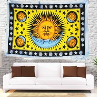 Hippie Hippy Indian 100% Cotton Fabric Mandala Zodiac Horoscope Astro Psychodelic Design Sun Moon Tapestry
