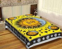 Hippie Hippy Indian 100% Cotton Fabric Mandala Zodiac Horoscope Astro Psychodelic Design Sun Moon Tapestry