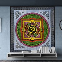 Om Printed Spiritual Peace Yoga Divine Serenity 100% Cotton Fabric Wall Decor Bedspread Bed Sheet Tapestry