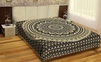 Black Color Indian 100% Cotton Fabric Floral Ombre MandalaGold dye Queen Size Royal Bedsheet Bedspread Tapestry