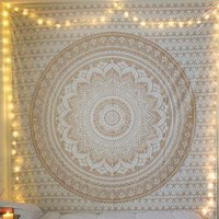 White Color Gold dye Indian 100% Cotton Fabric Floral Ombre Mandala Queen Size Royal Bedsheet Bedspread Tapestry