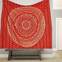 Red Color Gold dye Indian 100% Cotton Fabric Floral Ombre Mandala Queen Size Royal Bed sheet Bedspread Tapestry