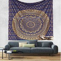 Royal Blue Color Gold dye Indian 100% Cotton Fabric Floral Ombre Mandala Queen Size Royal Bed sheet Bedspread Tapestry
