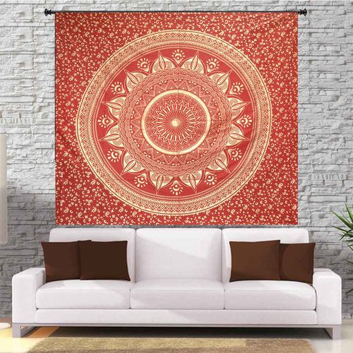 Deepak Ombre Mandala Red Color Indian 100% Cotton Fabric Floral Gold dye Queen Size Royal Bed sheet Bedspread Tapestry