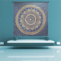 Deepak Ombre Mandala Navy Blue Color Gold dye Indian 100% Cotton Fabric Floral Queen Size Royal Bedsheet Bedspread Tapestry