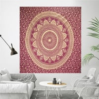 Meroon Color Gold dye Queen Size Royal Bed sheet Indian 100% Cotton Fabric Floral Ombre Mandala Bedspread Tapestry