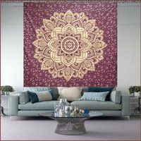 Floral Mandala Indian 100% Cotton Fabric Meroon Color Gold dye Queen Size Royal Bed sheet Bedspread Tapestry