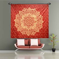 Gold dye Queen Size Royal Bed sheet Indian 100% Cotton Fabric Floral Ombre Mandala Red Color Bedspread Tapestry