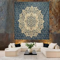 Gold dye Grey Color Indian 100% Cotton Fabric Floral Ombre Mandala Queen Size Royal Bed sheet Bedspread Tapestry